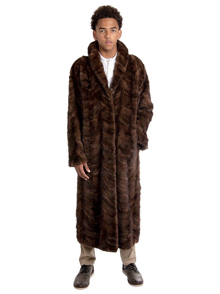 Man's Sculptured Mahogany Mink Fur Coat