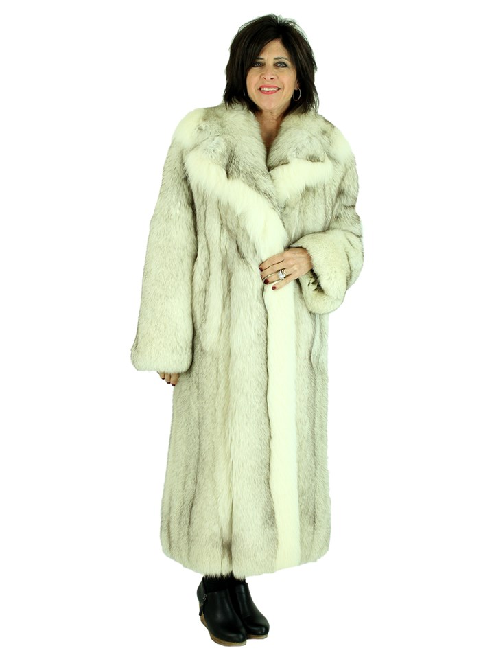 Woman's Natural Blue Fox Fur Coat with Shadow Fox Trim