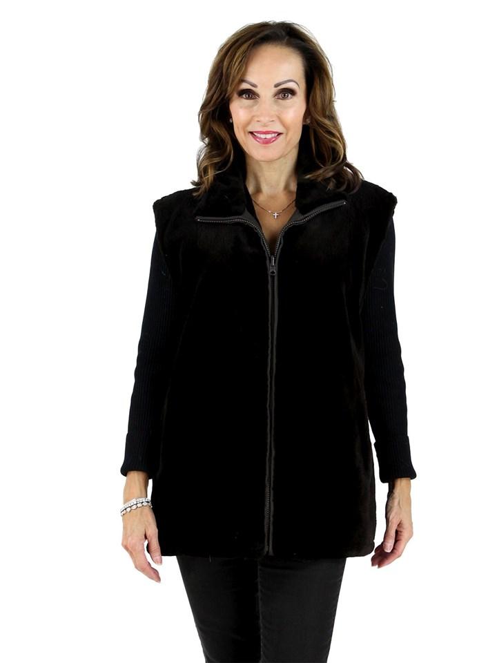 Dark Chocolate Brown Sheared Mink Vest Reversible to Matching Rain Fabric