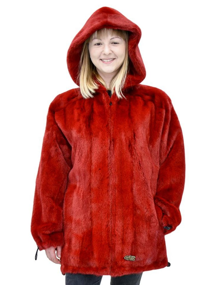 NEW Reversible CGB Red Mink Zip Parka