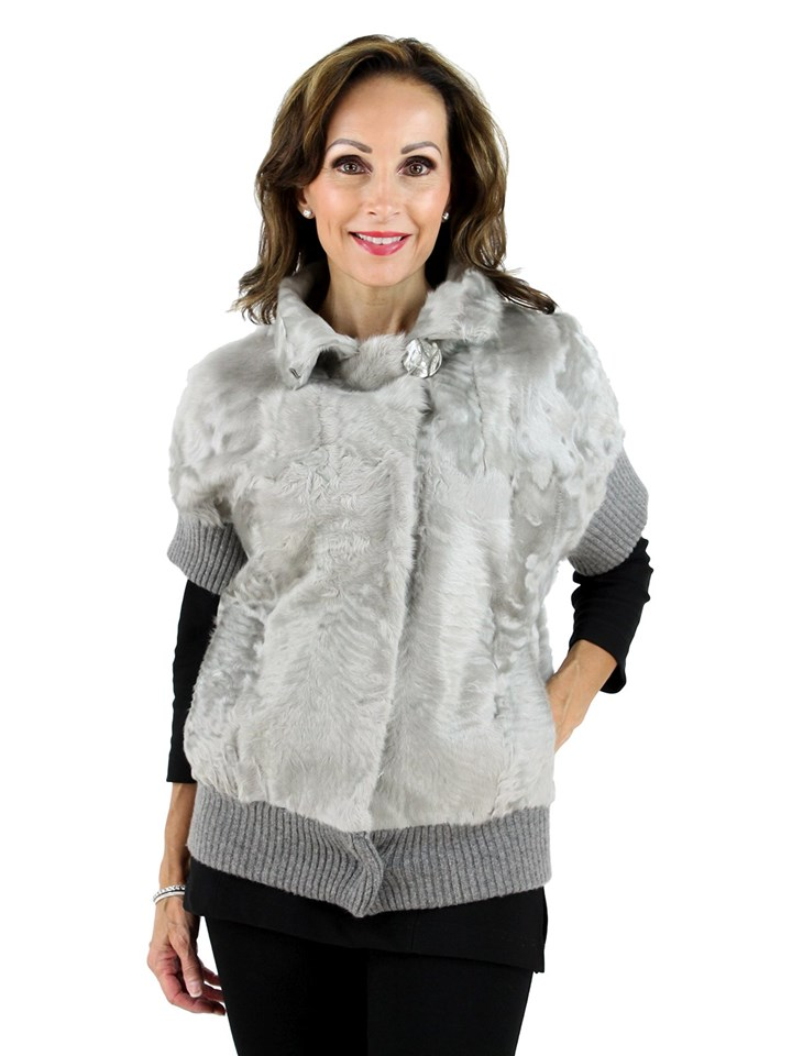 New Gorski Woman's Silver Grey Lamb Fur Jacket