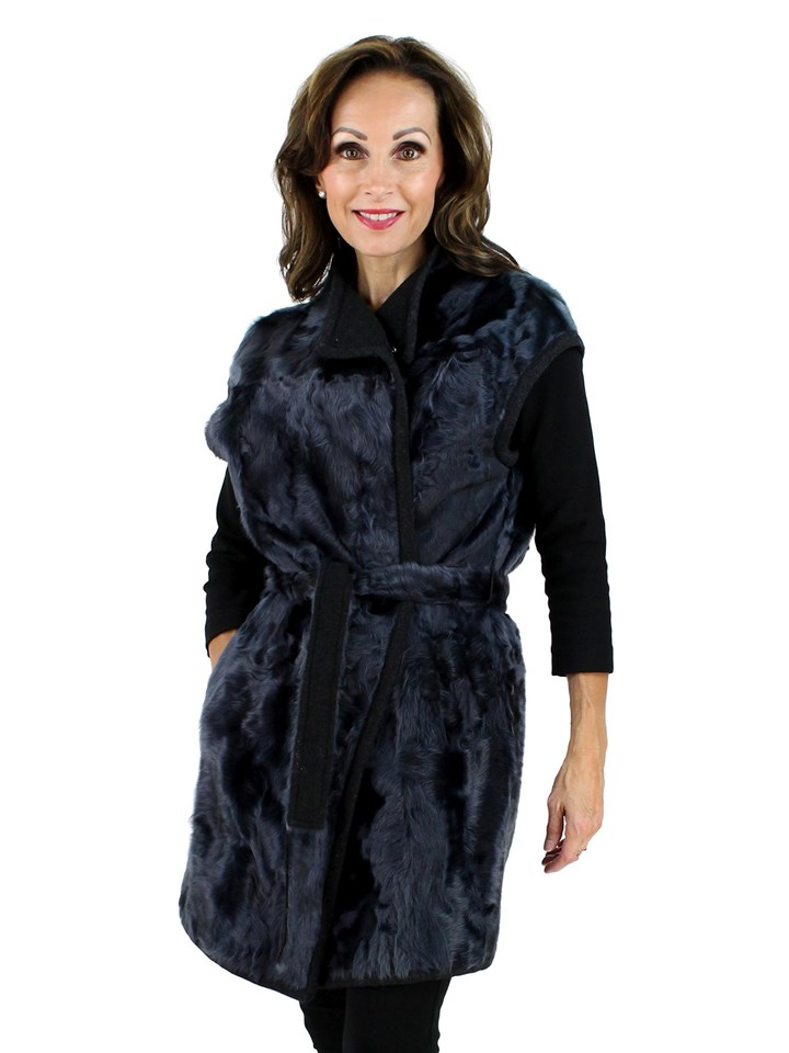 New Gorski Woman's Navy Lamb Long Fur Vest