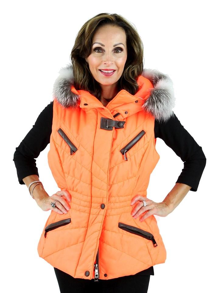 Gorski Woman's Fluo Arancia Fabric Vest with Fox Trim