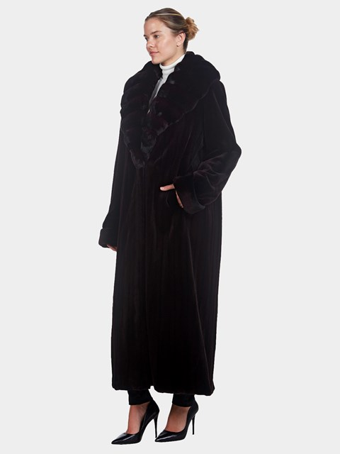 Woman's Full Length Black Sheared Mink Fur Coat with Chinchilla