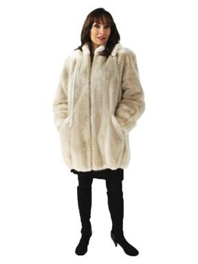 Sporty Blush Mink Jacket with Sheared Mink Trim