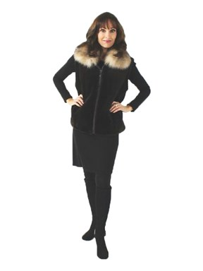 Dark Chocolate Brown Sheared Beaver Fur Vest with Crystal Fox Collar