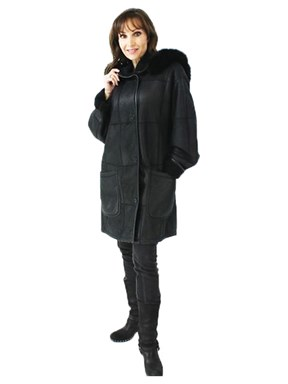 Fabulous Petite Black Christ Designer Shearling Parka with Detachable Fox Trimmed Hood