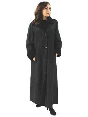 Black Full Length Shearling Coat