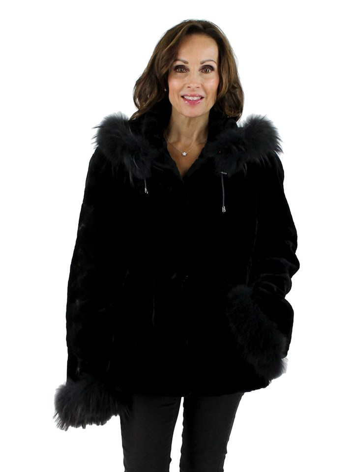 NEW Woman's Black Mink Section Fur Parka