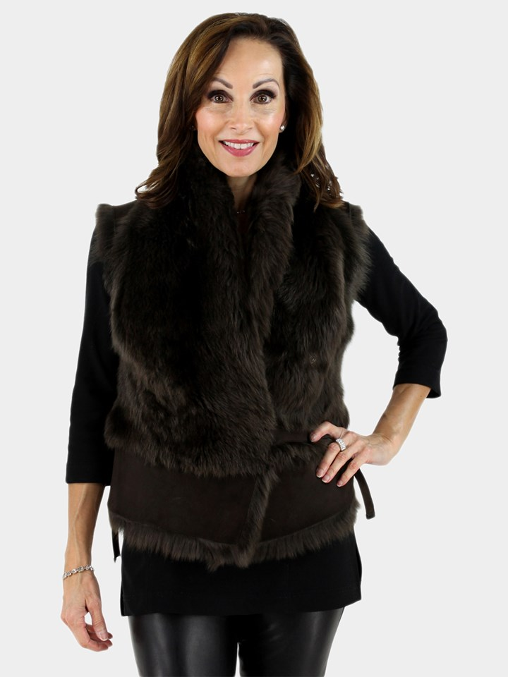 Woman's Chocolate Brown Toscano Shearling and Suede Vest