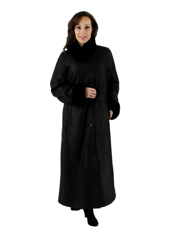Woman's Christ Designer Black Shearling Coat with Nutria Fur Trim