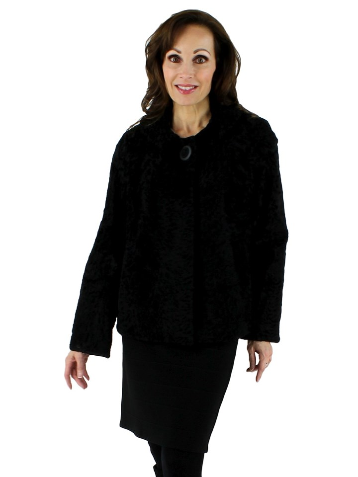 Woman's Vintage Beautiful Black Broadtail Lamb Jacket