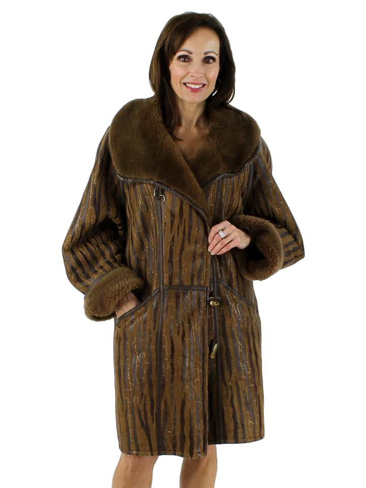 Tan Shearling Coat with Leather and Metallic Accents