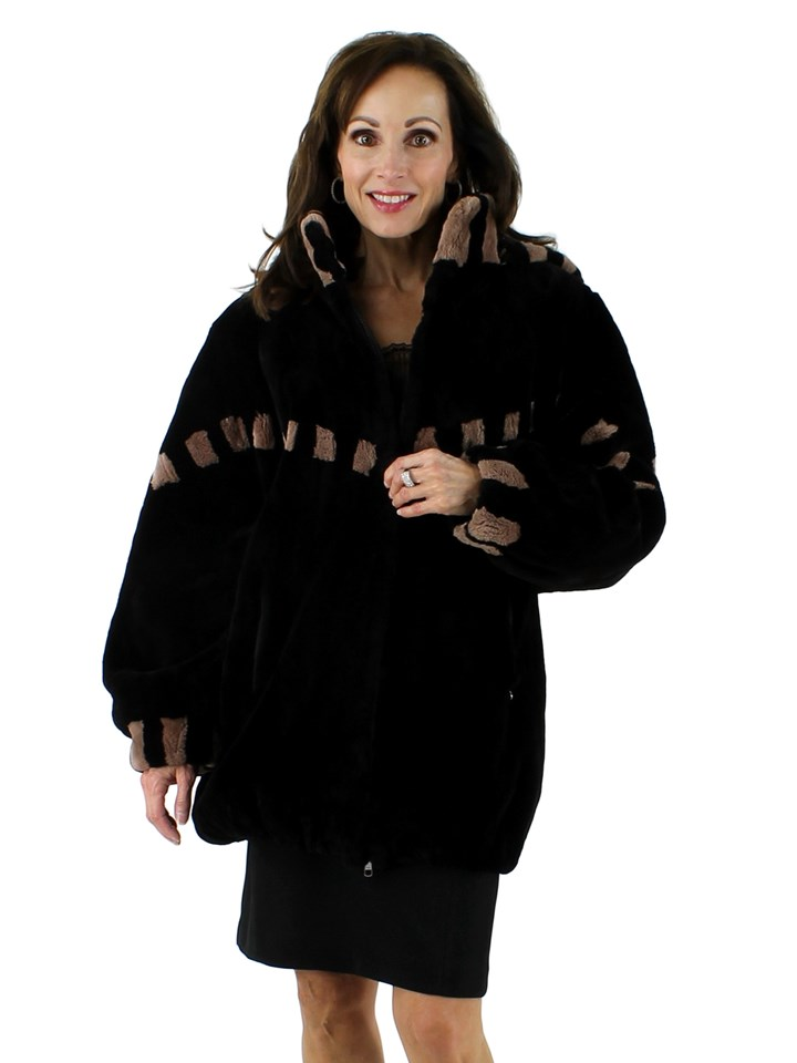 Woman's Black Sheared Beaver Fur Jacket