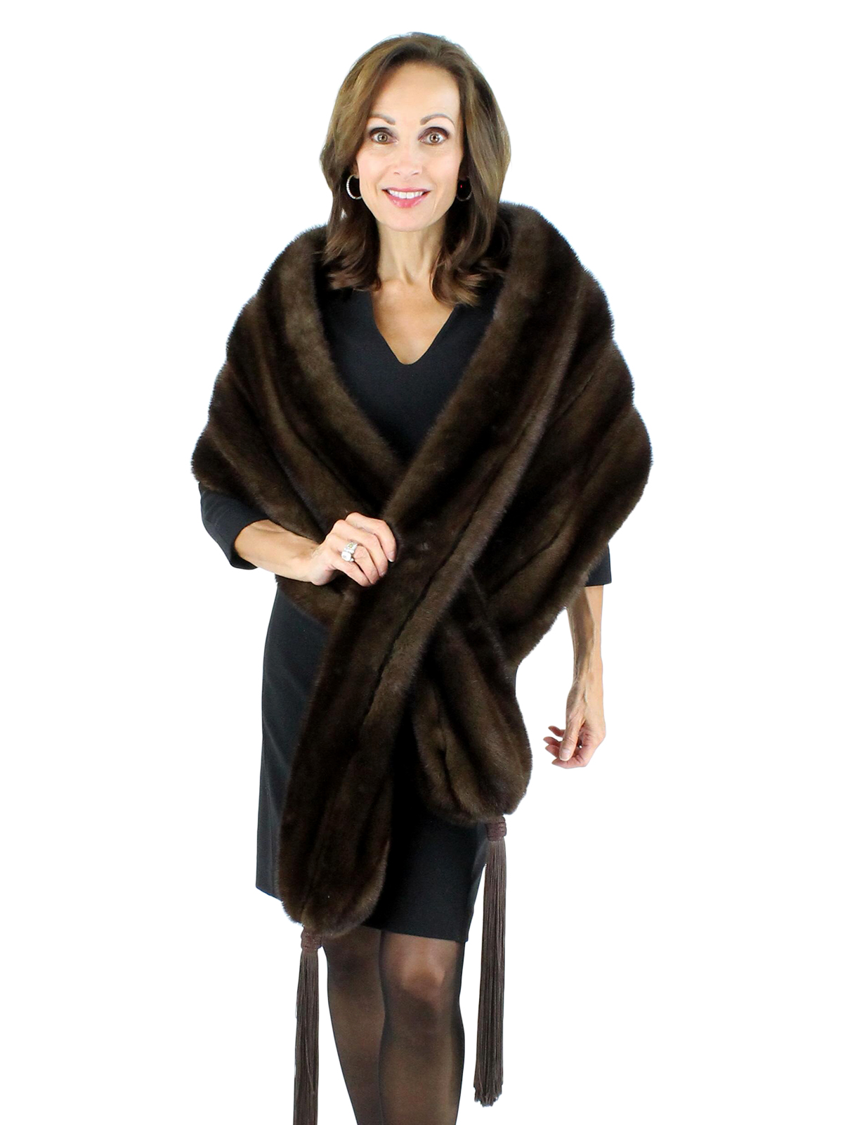 fea5a5a8b49 Mink Fur Wrap - Women s Medium - Mahogany