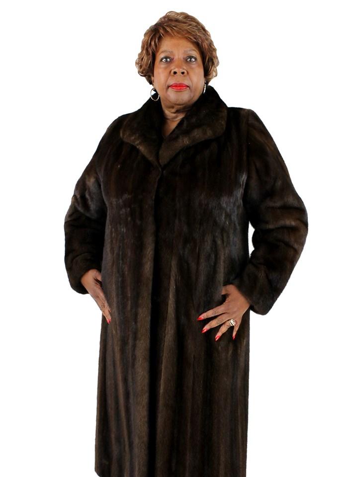 Woman's Light Mahogany Mink Fur Coat