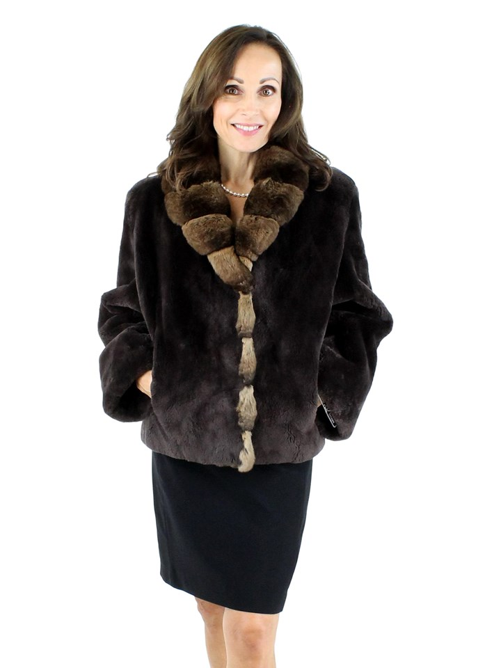 Woman's Brown Sheared Beaver Fur Jacket