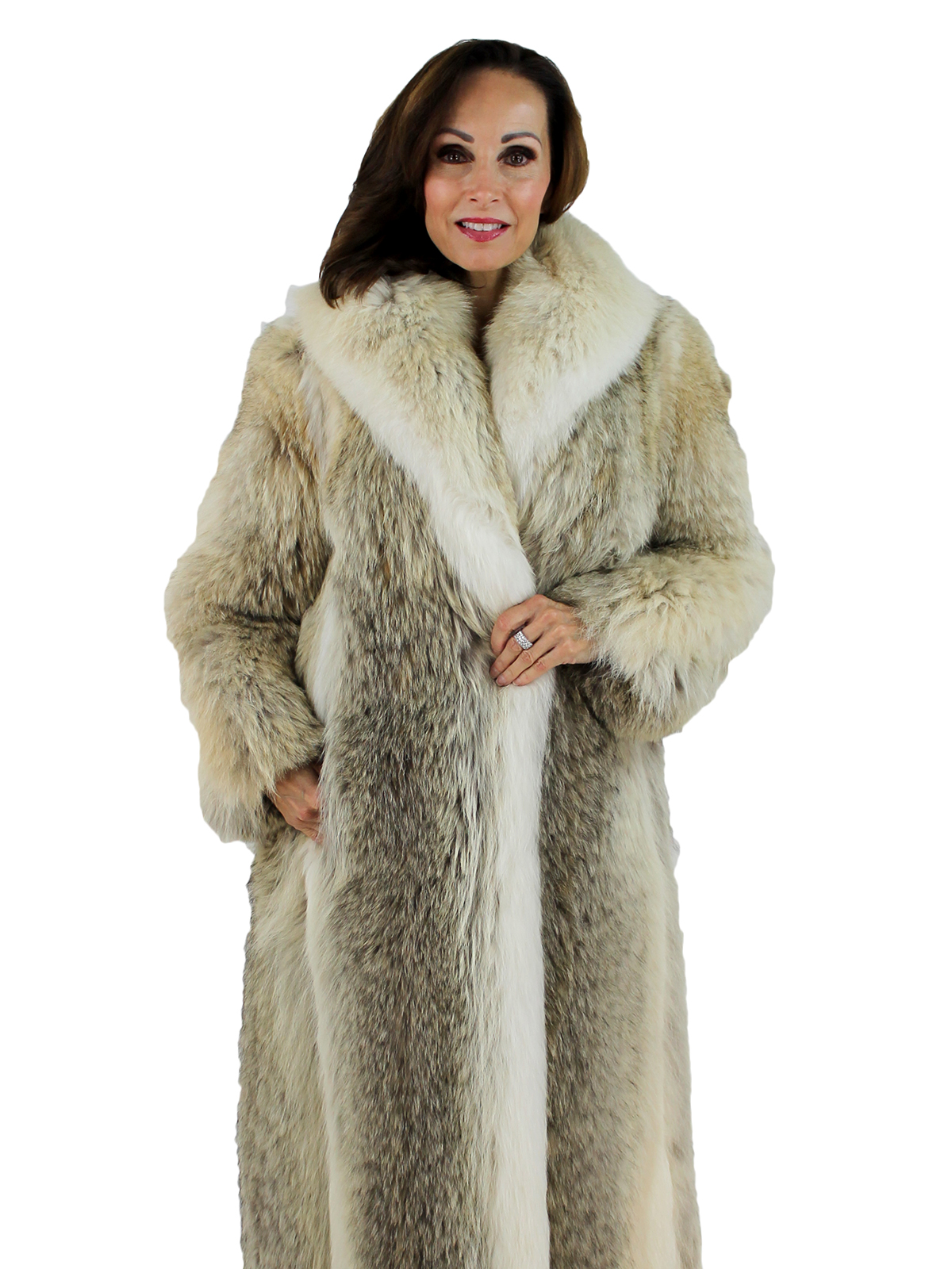 Womans Coyote Fur Coat With Shadow Fox Trim