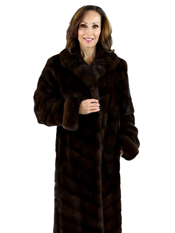 Saks Fifth Avenue Woman's Mahogany Female Mink Directional Fur Coat