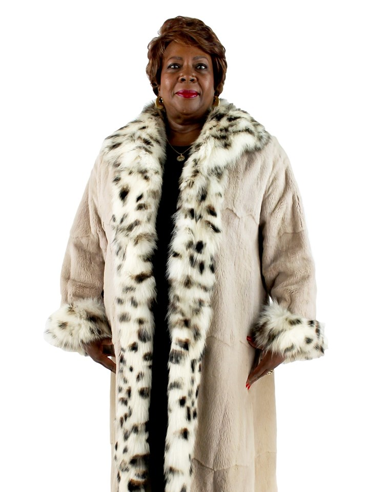 Woman's Blush Plucked Mink Fur Coat with Fox Trim Reversible to Rain Fabric