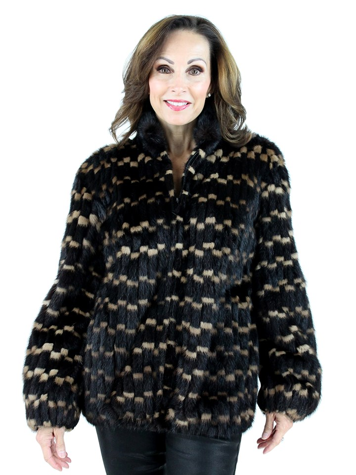 Woman's Two Tone Ranch and Lunaraine Cord Cut Mink Fur Jacket