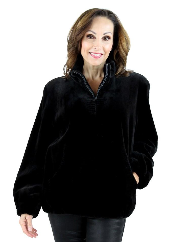 Louis Feraud Woman's  Black Sheared Mink Fur Pullover Jacket