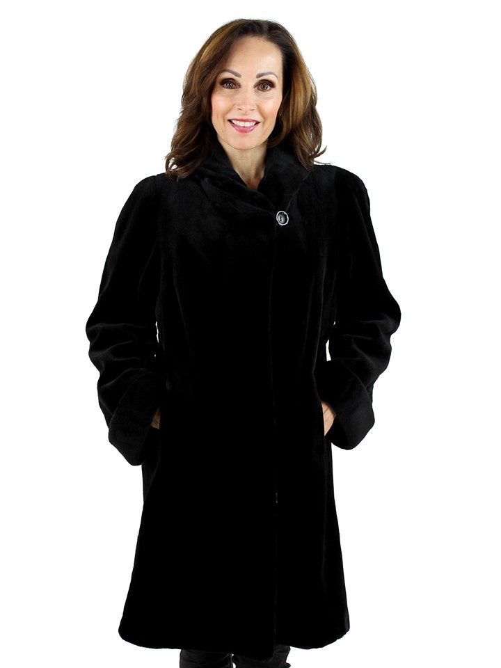 Woman's Black Sheared Mink Fur Stroller Reversible to Rain Fabric