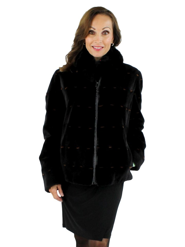 Woman's Black Sheared Mink Fur Jacket