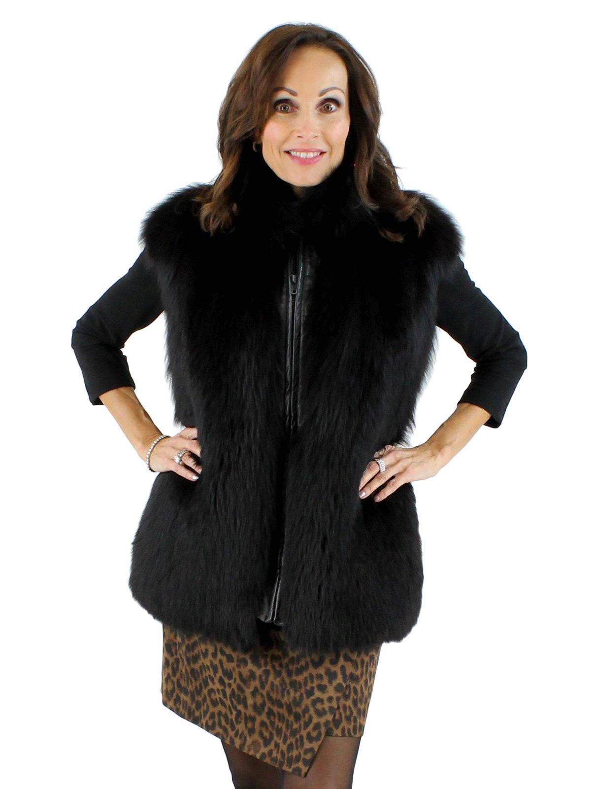 386bceced2 Fox Fur Vest - Women's Large - Black | Estate Furs