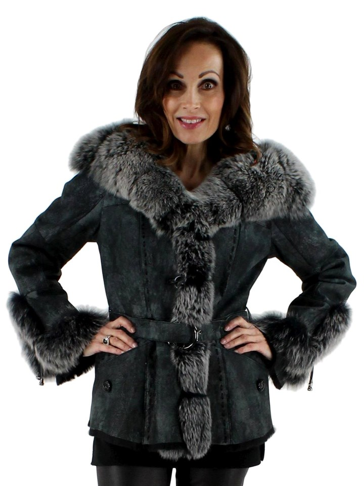 Grey Metallic Belted Shearling Jacket with Fox Tuxedo