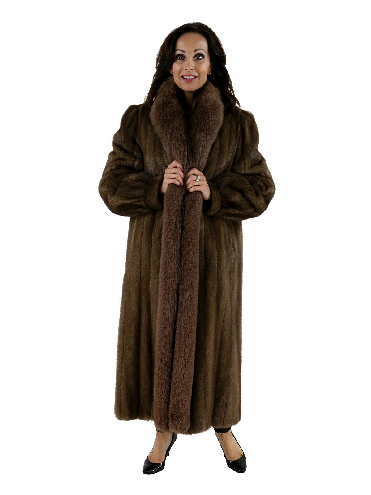 Coyote Fur Coat Womens Large Estate Furs >> Pastel Mink Fur Coat W Matching Fox Tuxedo Front Women S Large Estate Furs