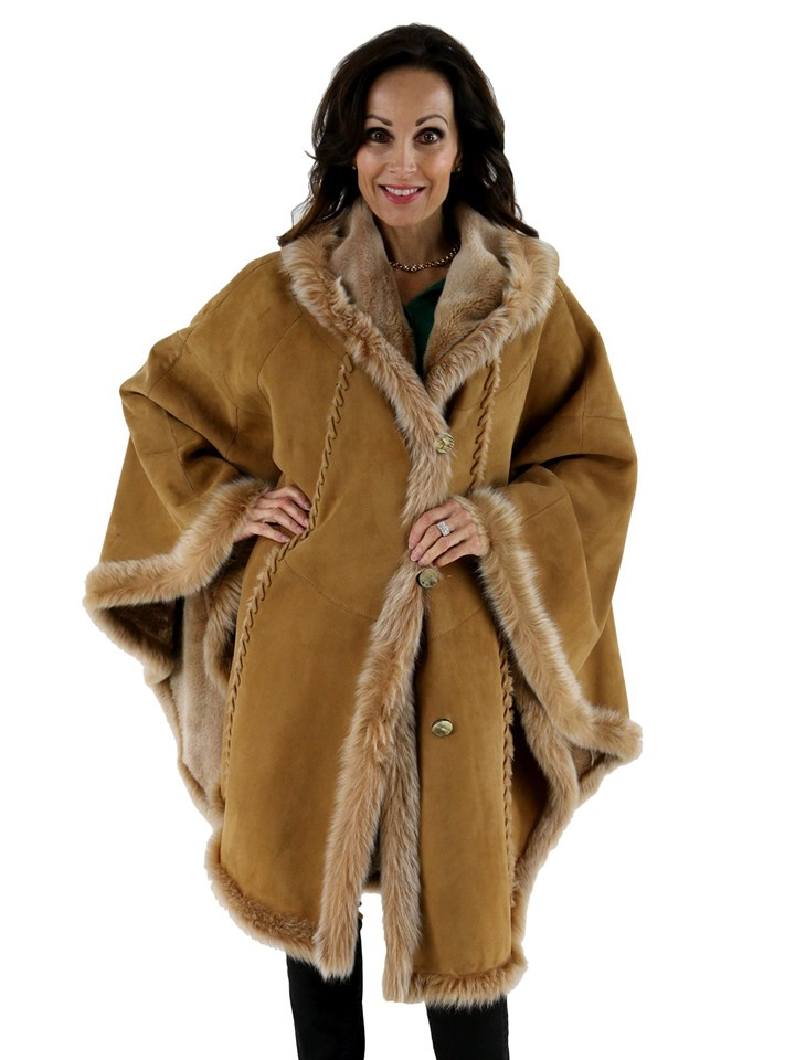 Italian Designer Christia Woman's Shearling Cape with Hood