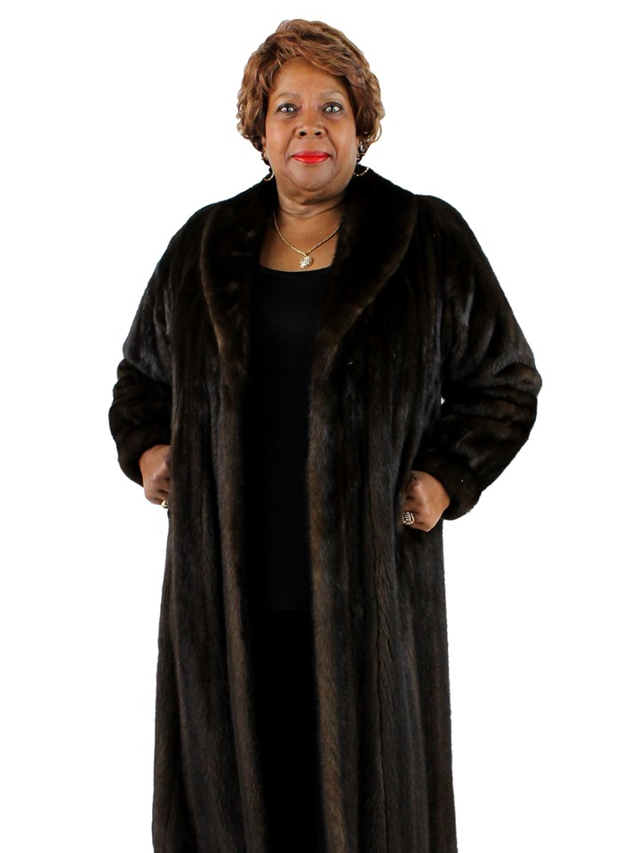 Woman's Female Mahogany Mink Fur Coat