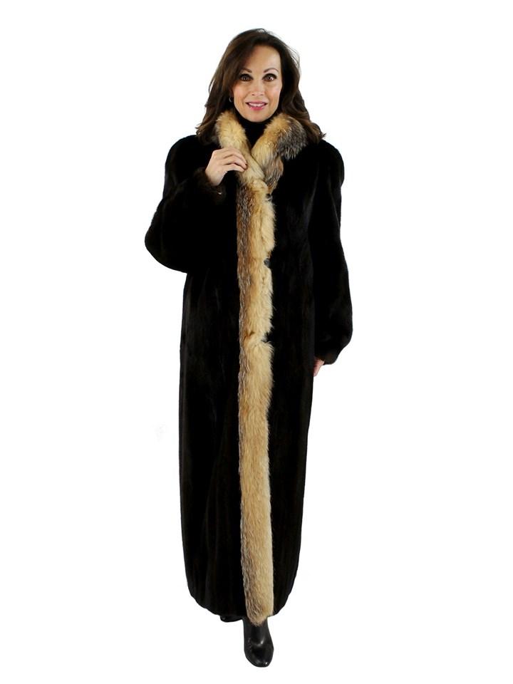 Mahogany Mink Coat with Crystal Fox Tuxedo Front