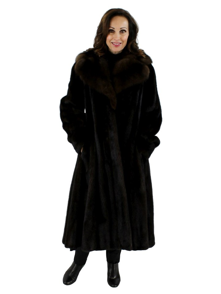Woman's Dark Mahogany Female Mink Fur Coat with Sable Collar