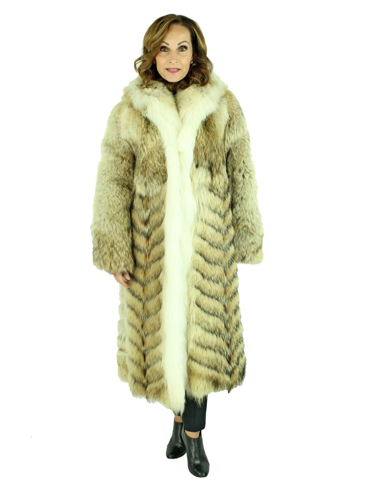 Woman's Natural Coyote Fur Stroller with Fox Tuxedo Front