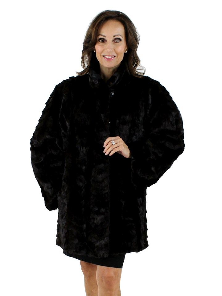 Woman's Sectioned Ranch Mink Fur Stroller