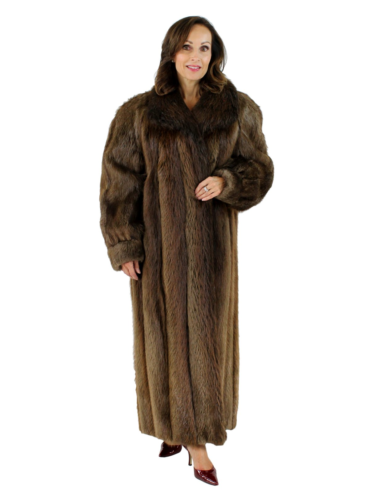 30cb6336c Medium Tone Long Hair Beaver Fur Coat - Women's XLarge | Estate Furs