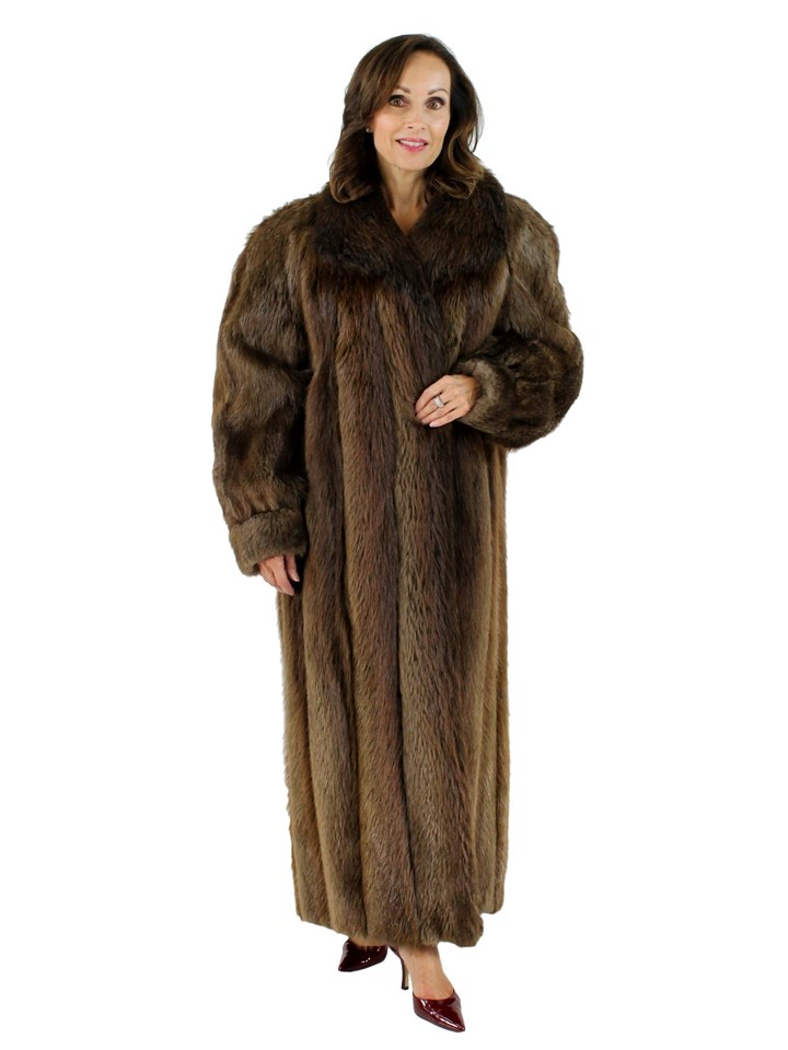 Medium Tone Long Hair Beaver Coat