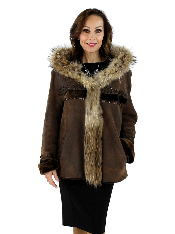 Brown Shearling Jacket with Finn Raccoon Trim