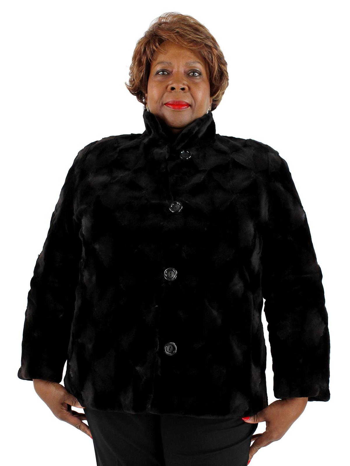 548140d87722 Sheared Mink Fur Jacket Reversible to Rain Fabric - Women s Large ...