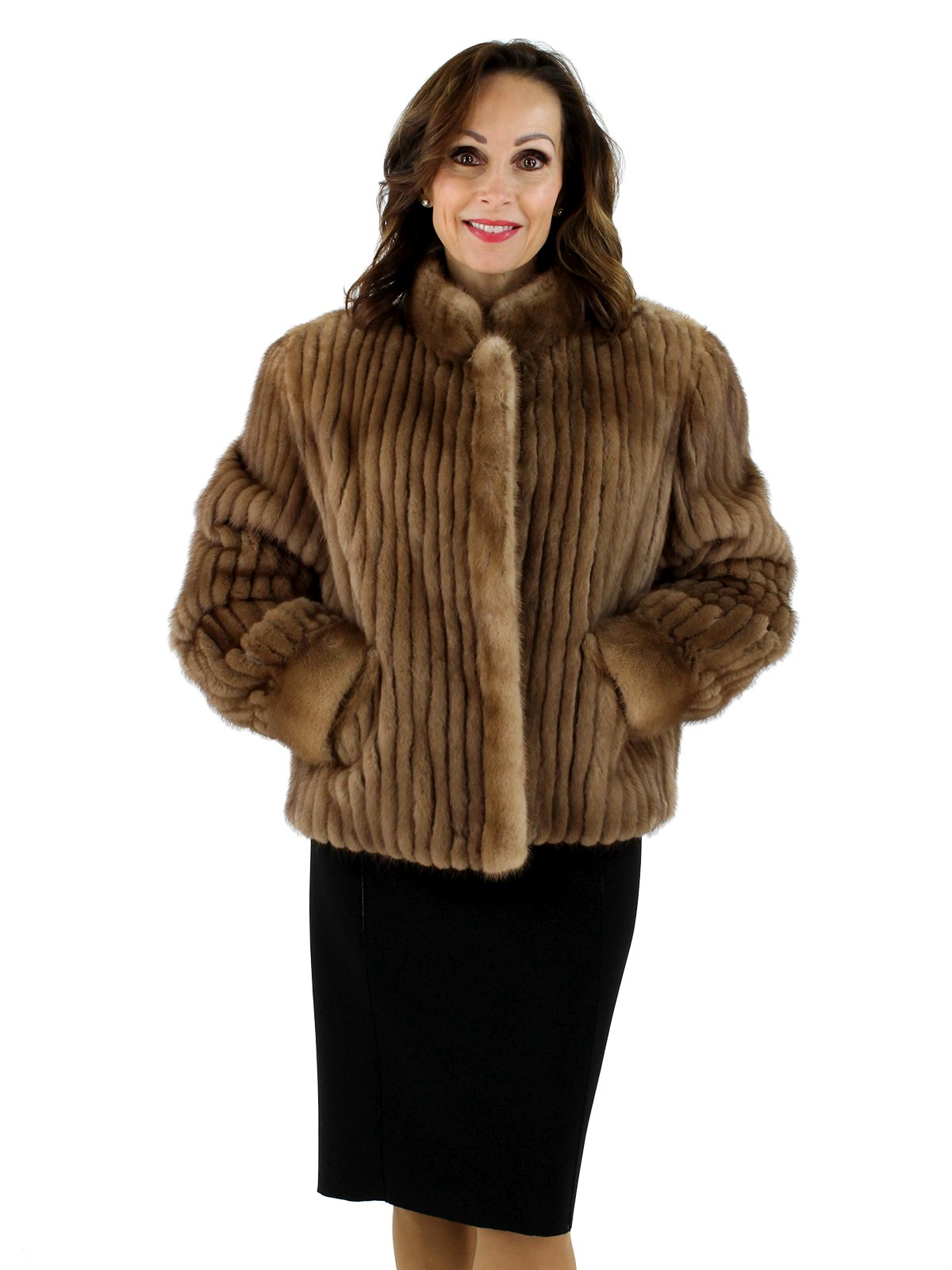 34a7d049c3d Autumn Haze Cord Cut Mink Fur Jacket - Women's Medium