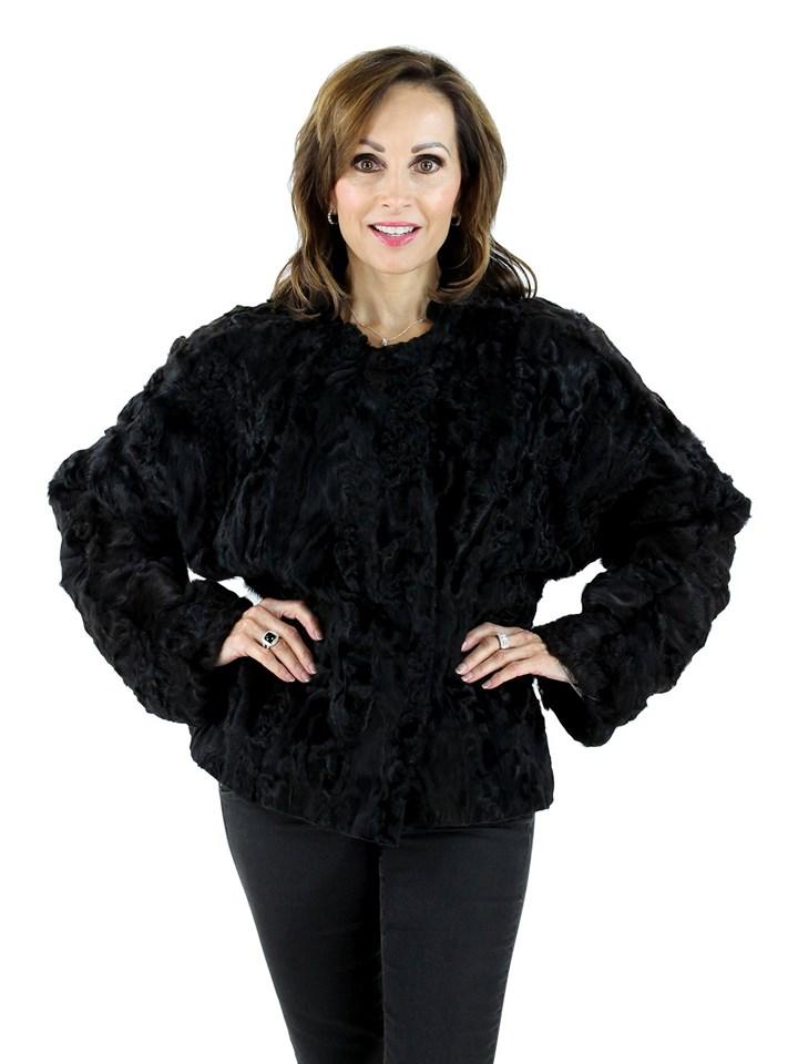 Plus Size Black Persian Lamb Jacket