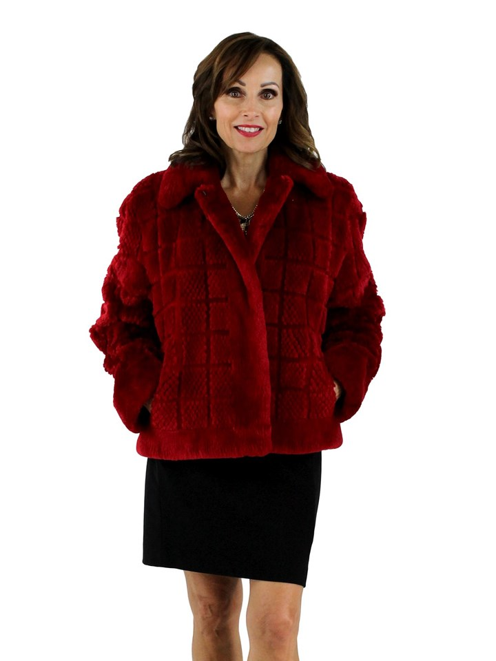 Woman's Red Sheared and Grooved Beaver Fur Jacket