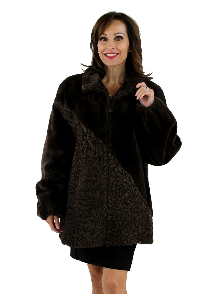 Woman's Brown Sheared Beaver Fur Jacket with Persian Lamb Accents