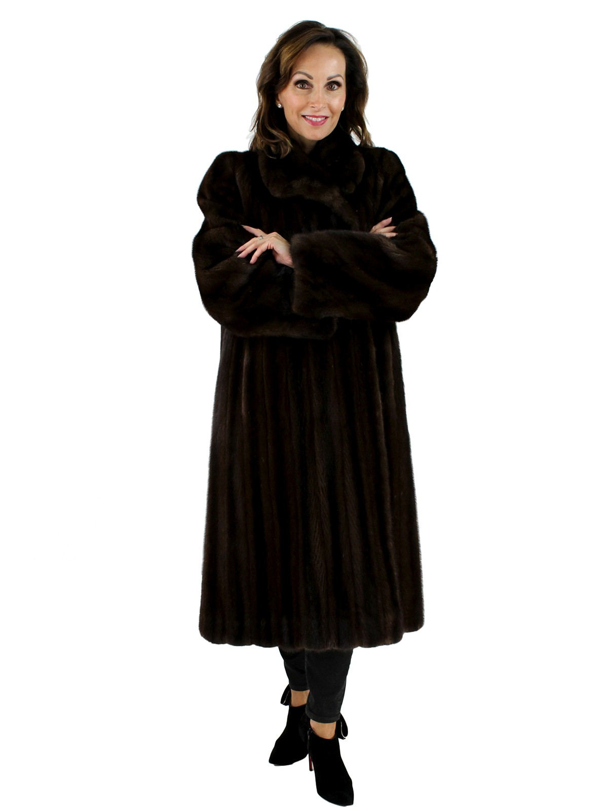 2f392eea9 Mink Fur Coat - Women's Large - Dark Mahogany | Estate Furs