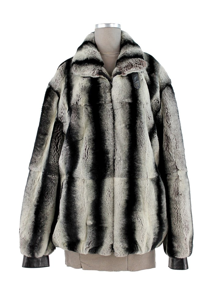 Man's Rex Rabbit Chinchilla Dyed Fur Jacket