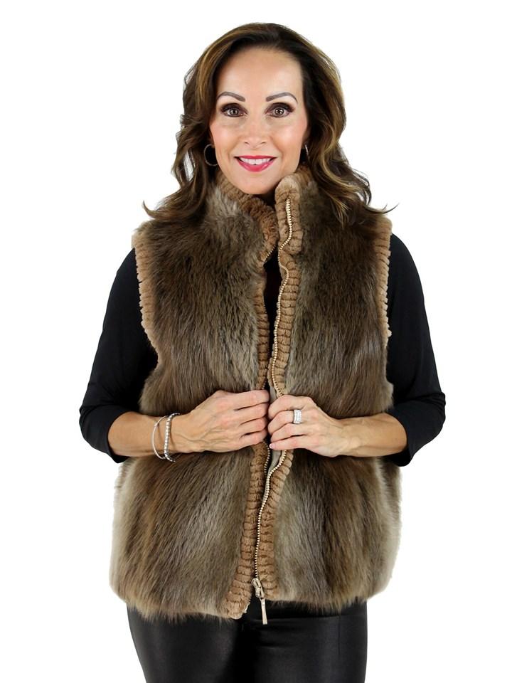 Woman's Blond Long Hair Beaver Fur Vest