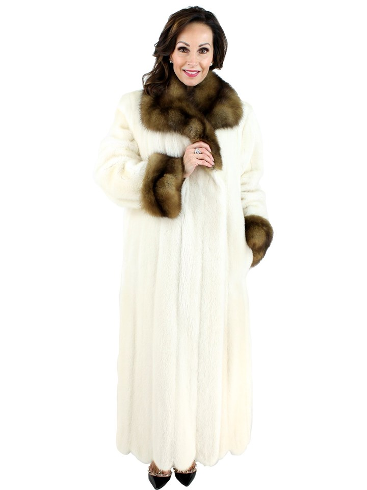 Woman's White Mink Fur Coat with Sable Fur Collar and Cuffs