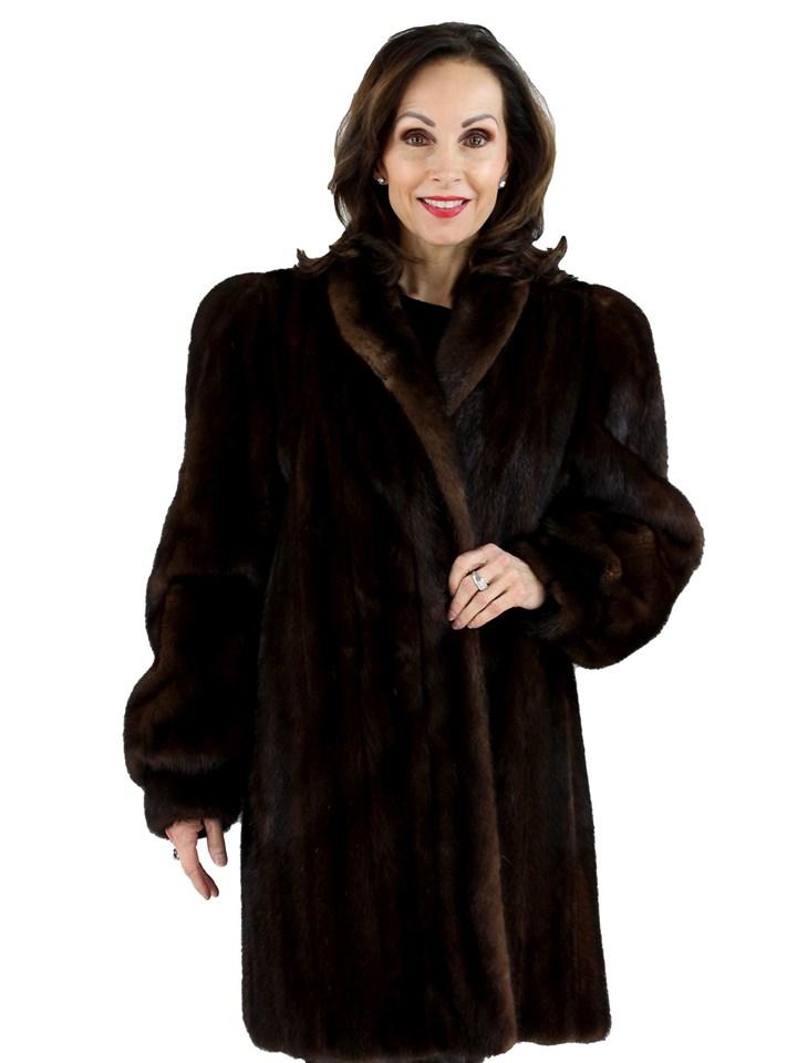 Woman's Dark Mahogany Female Mink Fur Stroller